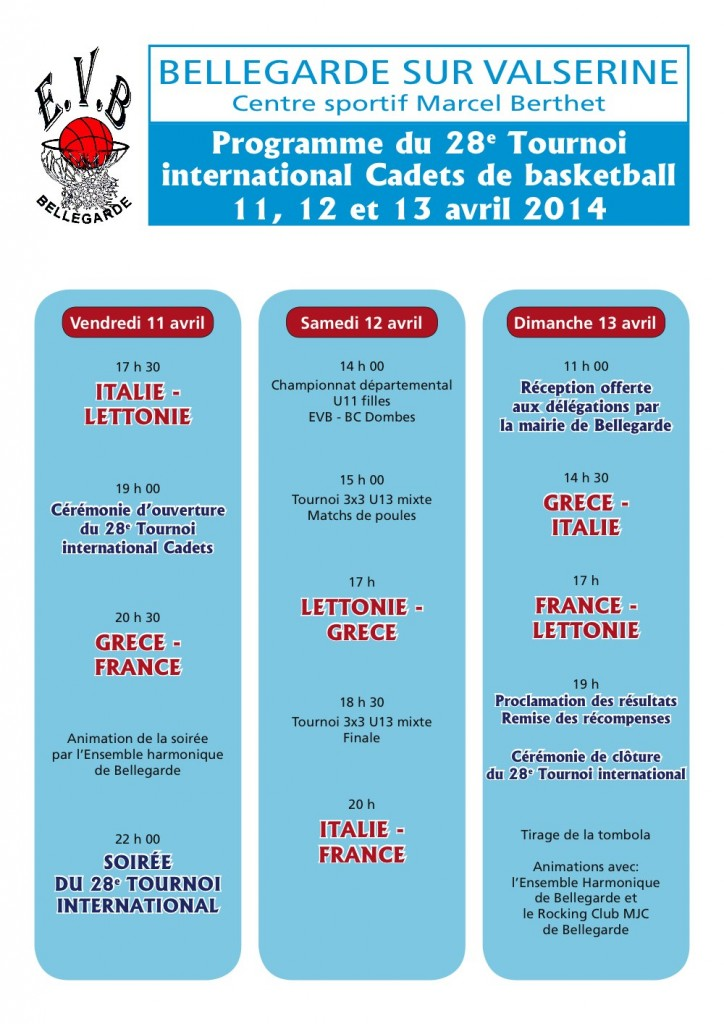 Calendrier tournoi Bellegarde