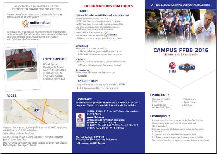Plaquette campus FFBB